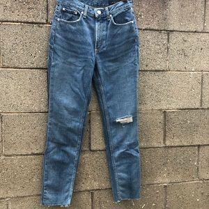 Rag & Bone Distress Edgy Blue Jeans Pants Raw Cut